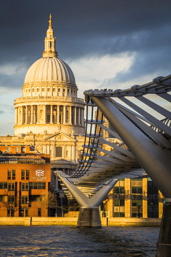 CLKST80641 St Paul cathedral and the Millennium Bridge. London city, London, United Kingdom.