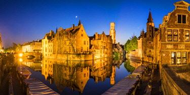 BEL1805AW Rozenhoedkai Canal & Belfry at Dusk, Brugge, Belgium