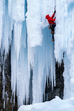 CAN3482AW Ice Climber in Johnston Canyon, Banff National Park, Aberta, Canada