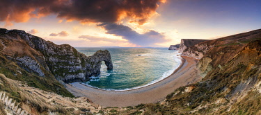 ENG15537AW Durdle Door at Sunset, Jurassic Coast, Dorset, England