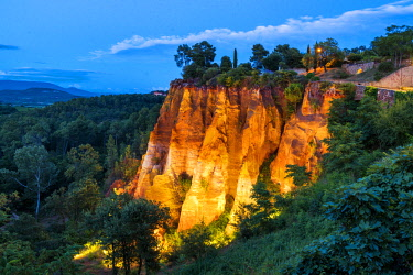 FRA10273AW Ochre Cliffs at Night, Roussillon, Provence, France