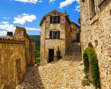 FRA10280AW Cobbled Street of Lacoste, Provence, France
