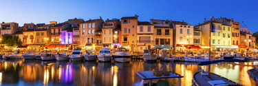 FRA10285AW Cassis Harbour at Night, Provence, France