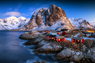 NOR1033AW Red Fishing Cabins at Hamnoy, Lofoten Islands, Norway