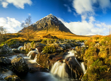 SCO35234AW Waterfall and Buachaille Etive Mor, Glen Coe, Highland Region, Scotland