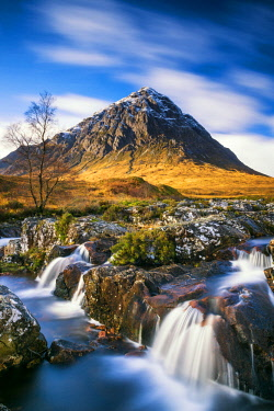 SCO35235AW Waterfall and Buachaille Etive Mor, Glen Coe, Highland Region, Scotland