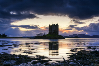 SCO35241AW Castle Stalker at Sunset, Highland Region, Scotland