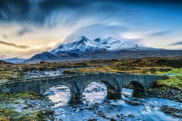 SCO35249AW Sligachan Bridge and Cuillin Hills, Isle of Skye, Highland Region, Scotland