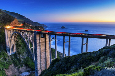 USA13137AW Bixby Bridge at Twilight, Big Sur, California, USA