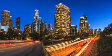USA13192AW Downtown Skyline at Night, Los Angeles, California, USA