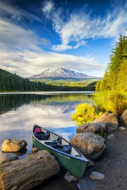 USA13280AW Canoe on Trillium Lake with Mt. Hood, Oregon, USA