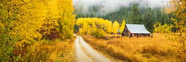 USA13323AW Old Barn in Autumn, Wenatchee National Forest, Washington, USA