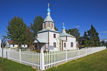 US02BJY0546 USA, Alaska, Kenai. Russian Orthodox church built in 1894.
