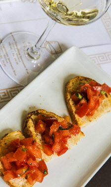 ITA12117AW Europe, Italy, Campania. Bruschetta with fresh tomatos.