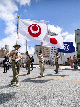 JAP1216AW Hatagashira Parade along Kokusai street, Ohtsunahiki Matsuri, Naha, Okinawa, Japan
