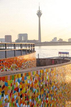 GER10753AW Rhine bank, Rhein Tower, Mosaic designed by Prof. Hermann-Josef Kuhna, Düsseldorf,