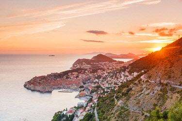 CRO1652AW Croatia, Dubrovnik, Aerail view of Dubrovnik
