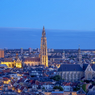 BEL1818AW City Center Skyline at twilight, elevated view, Antwerp, Belgium