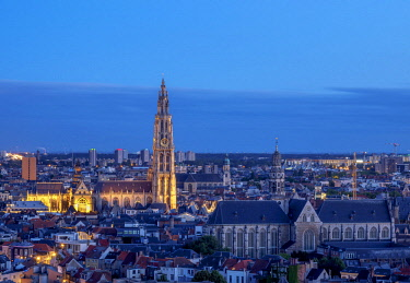 BEL1820AW City Center Skyline at twilight, elevated view, Antwerp, Belgium