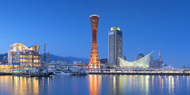 JAP1329AW Port Tower and Maritime Museum at dusk, Kobe, Kansai, Japan
