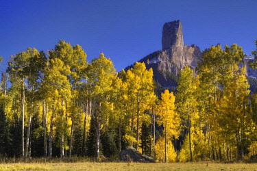 US06BJY0875 USA, Colorado, San Juan Mountains. Autumn aspen trees frame Chimney Rock.