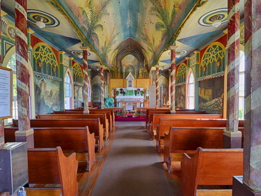 US12JEG0099 USA, Hawaii, Big Island. Interior of Saint Benedict's Painted Church.