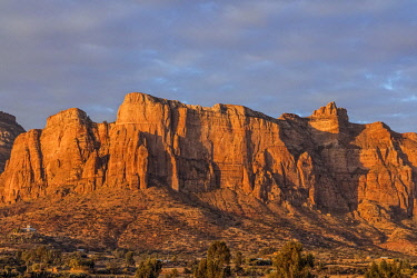 ETH3507 Ethiopia, Tigray Region, Gheralta Mountains, Guh.  The magnificent Gheralta Mountains bathed in early morning sun.  Many ancient rock-hewn churches are found here.