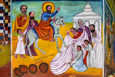 ETH3452 Ethiopia, Amhara Region, Ankober.  A mural of Christ entering Jerusalem on Palm Sunday in the 19th century church of Ankober Maryam which was built and used by the rulers of the Ethiopian Shewa Kingdo...