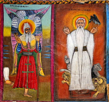ETH3457 Ethiopia, Amhara Region, Ankober.  A mural of Ethiopian saints Tekle Haymanot (L) and Gabre Manfus Kiddus (R) in the 19th century church of Ankober Maryam which was built and used by the rulers of the...