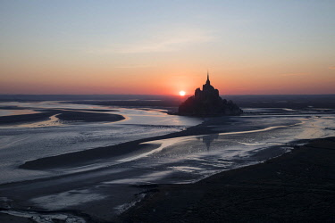FRA10319AW Aerial view of Mont Saint Michel at sunrise , Manche, Normandy, France