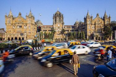 IN07146 India, Mumbai, Maharashtra, Chhatrapati Shivaji Maharaj Terminus railway station (CSMT), (formerly Victoria Terminus), UNESCO World Heritage Site