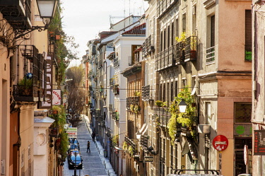 SPA7677AW Traditional street in Lavapies, a historic neighborhood in the city of Madrid, Spain