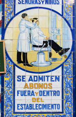 SPA7678AW Ceramic tiles in a traditional barbershop in Lavapies, a historic neighborhood in the city of Madrid. Spain