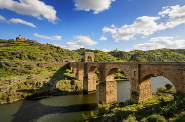 SPA7706AW The roman bridge of Alcantara (Trajan's Bridge) is a stone arch bridge built over the Tagus river at Alcantara in 106 AD by an order of the Roman emperor Trajan. It is fully operational today. Extrema...