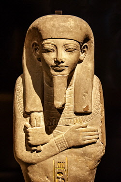 NLD0815 Limestone mummy shaped image of Ipay the Royal nurse in the Palace of Memphis. Saqqaara, 18th Dynasty. 1350BC  in the Egyptiaon collection ot he Rijksmuseum, Arsenaal, Leiden, Zuid Holland, Netherland...