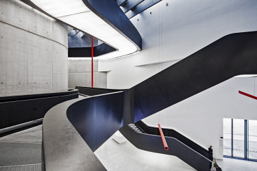 ITA12551 Interior of the MAXXI Museum designed by the Architect Zaha Hadid, Flaminio, Borgata Ottavia, Rome, Lazio, Italy.