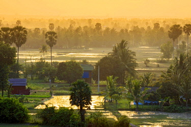CMB1629AW Southeast Asia, Cambodia, Kampot, rural scene with rice paddies and small farms