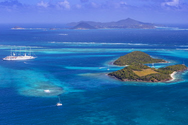 SVG01076 St Vincent and The Grenadines, Aerial view of the Tobago Cays and Club Med 2 cruise ship