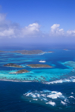 SVG01077 St Vincent and The Grenadines, Aerial view of the Tobago Cays and Club Med 2 cruise ship