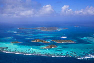 SVG01078 St Vincent and The Grenadines, Aerial view of the Tobago Cays and Club Med 2 cruise ship