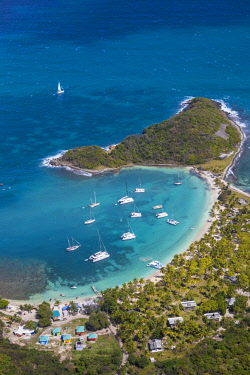 SVG01087 St Vincent and The Grenadines, Aerial view of Mayreau Island
