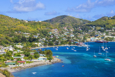 SVG01244 St Vincent and The Grenadines, Bequia, View of Admiralty Bay and Port Elizabeth