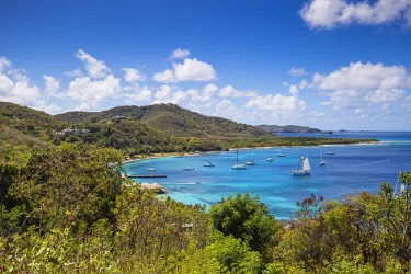 SVG01293 St Vincent and The Grenadines, Mustique, View of Brittania Bay