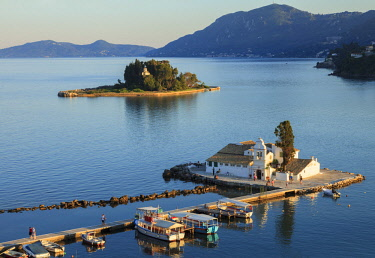 GRE1603AW Elevated View to Vlacherna Monastery and the Church of Pantokrator on Mouse Island, Kanoni, Corfu, The Ionian Islands, Greek Islands, Greece, Europe
