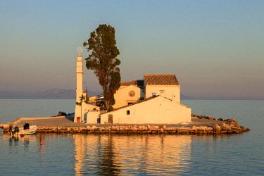 GRE1604AW Sunset on Vlacherna Monastery and the Church of Pantokrator on Mouse Island, Kanoni, Corfu, The Ionian Islands, Greek Islands, Greece, Europe