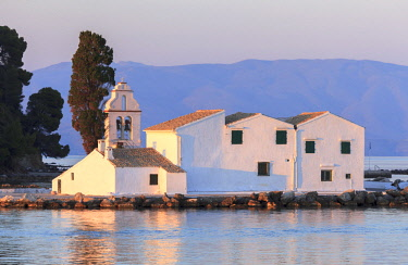GRE1606AW Monastery Vlacherna in the sunset, Corfu, Ionian Islands, Greek Islands, Greece, Europe