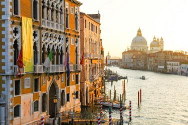 ITA12705AW Grand Canal with Palazzo Cavalli Franchetti at left and Santa Maria della Salute Church in the Distance, Venice, Veneto, Italy
