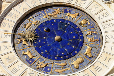 ITA12713AW Clock Face on the Torre Dell Orologico in the Piazza San Marco, Venice, Veneto, Italy.