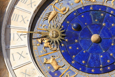 ITA12715AW Detail of the Clock Face on the Torre Dell Orologico in the Piazza San Marco, Venice, Veneto, Italy.