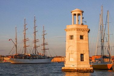 ITA12775AW Cruise Ship  ^Star Clipper^  and the Marina Compagnia della Vela San Giorgio, Venice, Veneto, Italy.